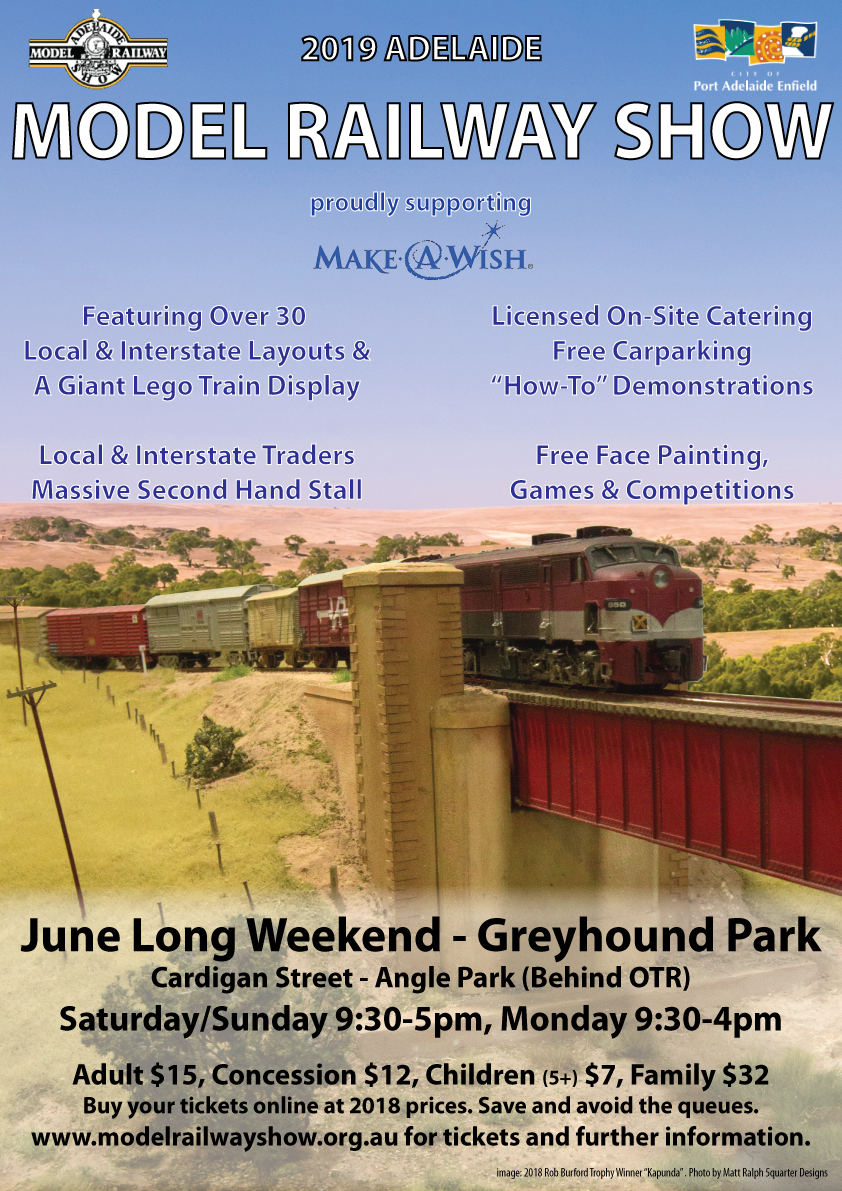 2019 Poster for the Adelaide Model Railway Exhibition, June 8-10